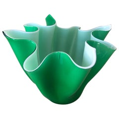 Venini and Bianconi Fazzoletto Handkerchief Green Vase or Bowl, Italy, 1950s