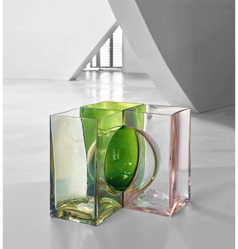 Ando Cosmos vase, designed by Tadao Ando and manufactured by Venini, is made of three vases that create a sphere when united. Crystal version is available in a limited edition of 19 pieces. Indoor use only.  Dimensions: W 22.5 cm x D 22.5 cm x H