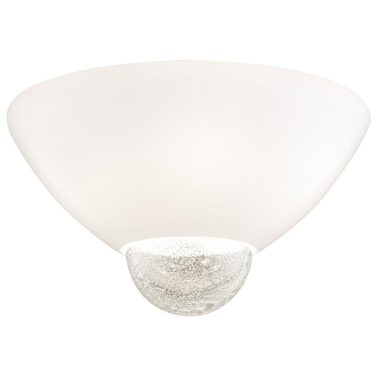 Venini Argea Ceiling Light in Milk White with Crystal Sphere For Sale