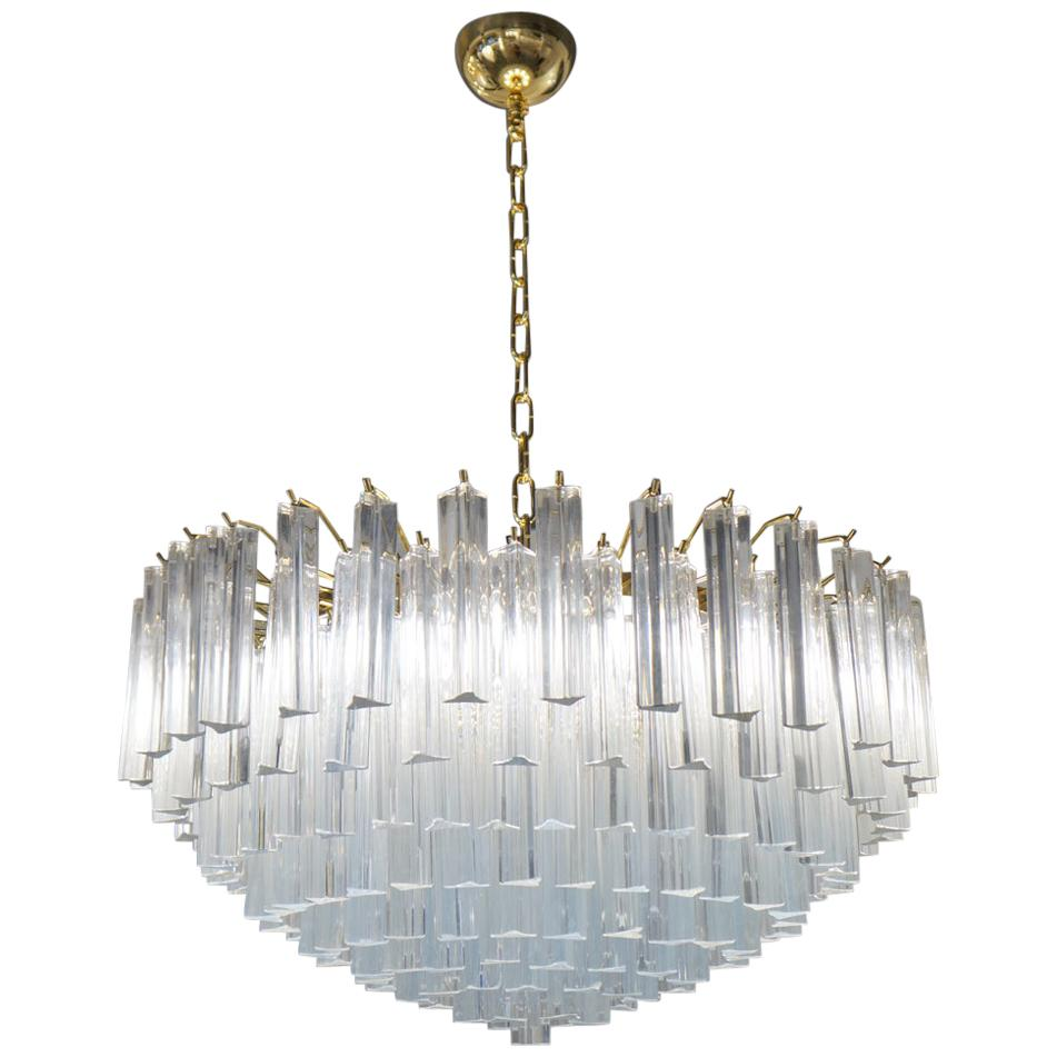 "Venini Attributed Crystal Murano Glass ""Triedri"" Chandelier Ceiling, 1980s"