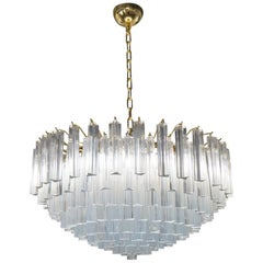 "Venini Attributed Crystal Murano Glass ""Triedri"" Chandelier Ceiling, 1980s"