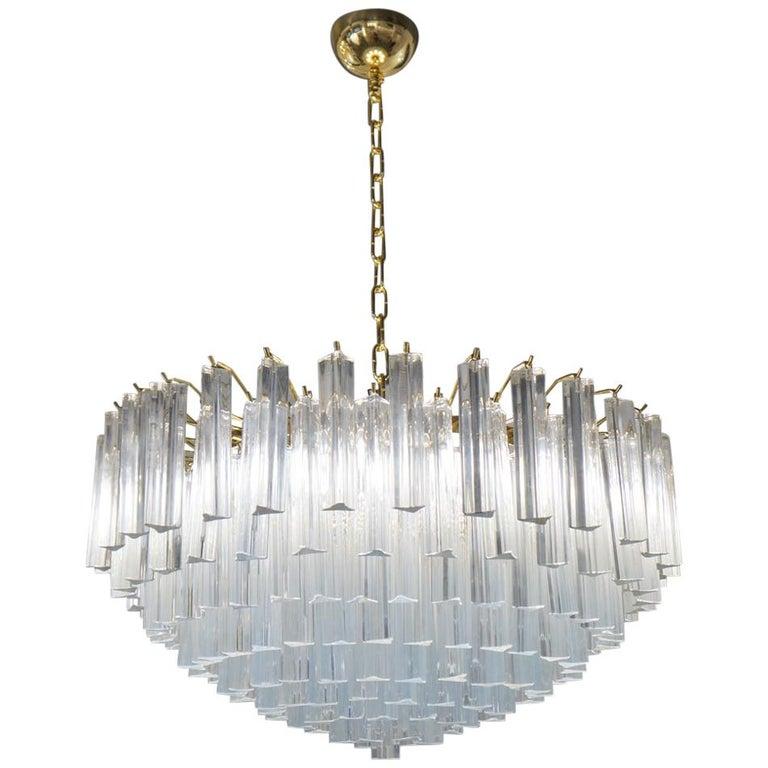 """Venini Attributed Crystal Murano Glass """"Triedri"""" Chandelier Ceiling, 1980s For Sale"""