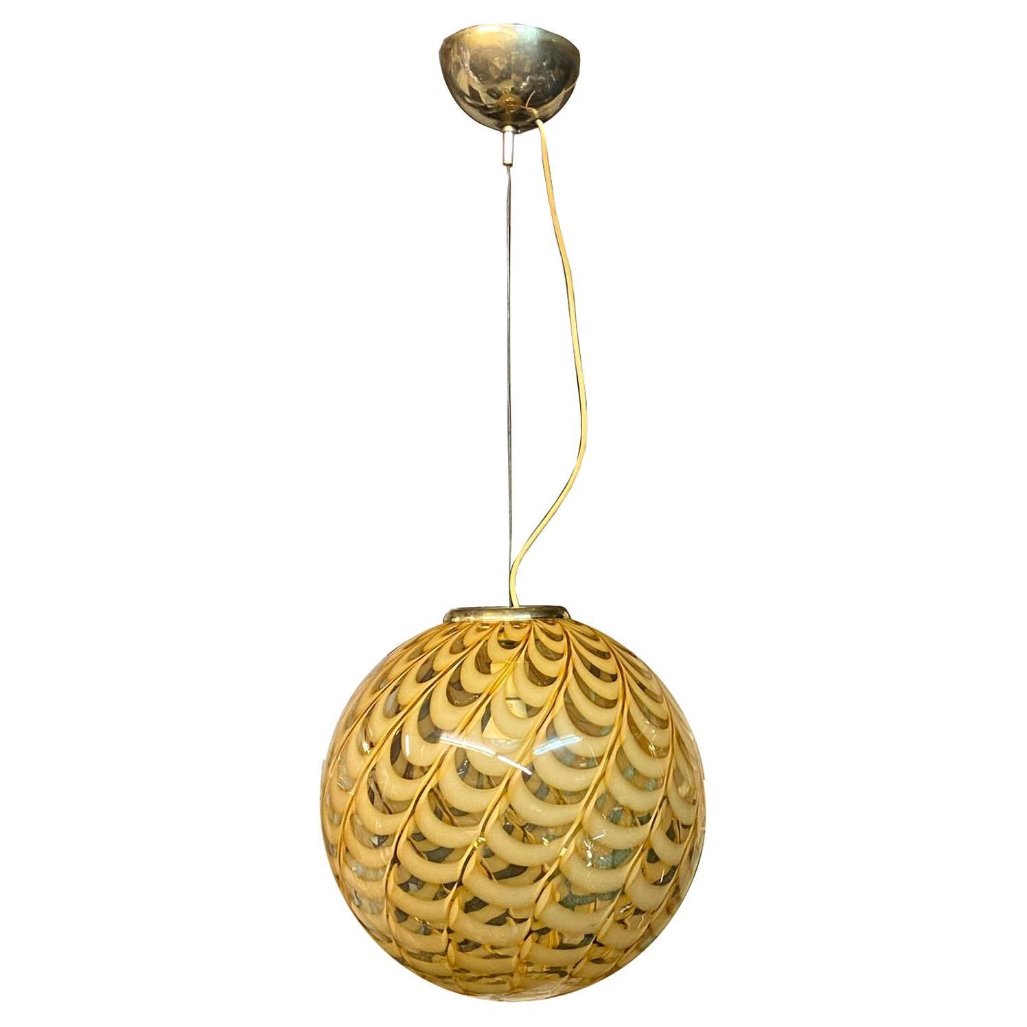 Venini Attributed Italian Murano Blown Glass Globe Pendant Chandelier, 1960s