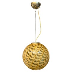 Venini Attributed Italian Murano Blown Glass Globe Pendant Chandelier, 1960s