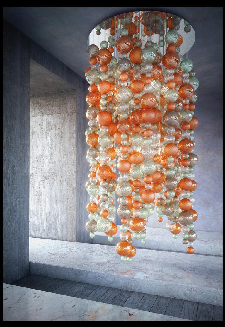 Venini Balloton chandelier in orange and light green. Other dimensions on request.