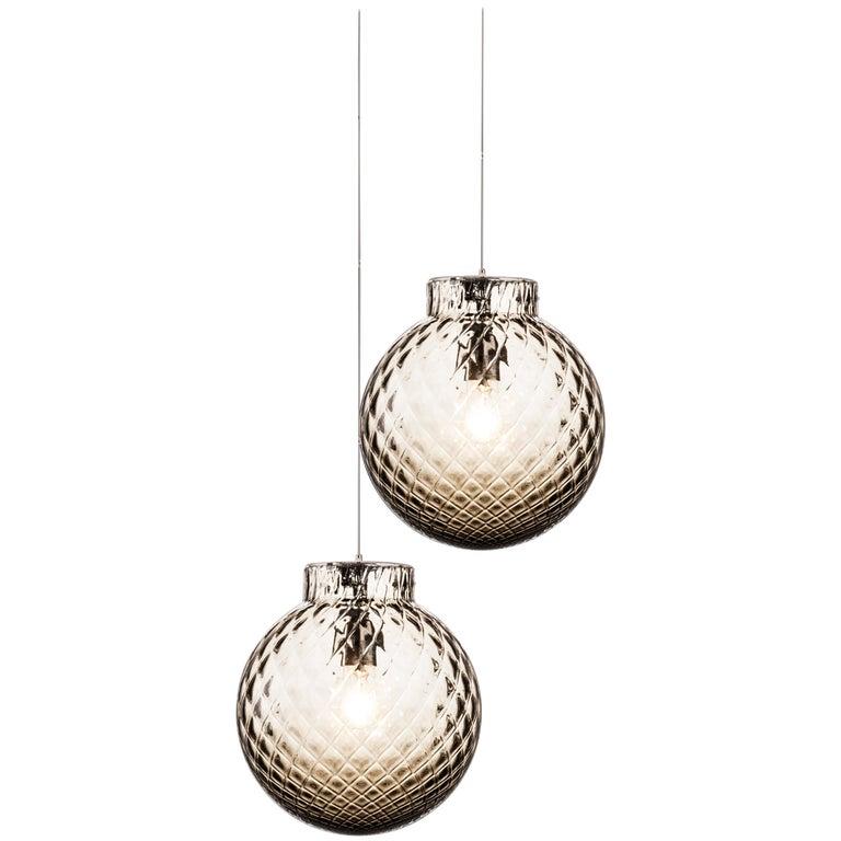 Venini Balloton Lamp in Gray Crystal For Sale