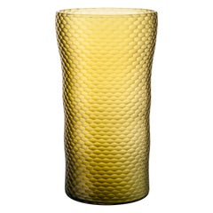 Venini Battuto A Nido D'ape Glass Vase in Straw Yellow by Carlo Scarpa