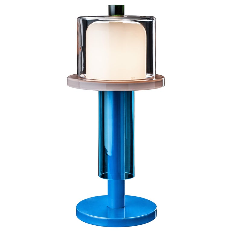 Venini Bhusanam Table Lamp in Aquamarine by Ettore Sottsass For Sale