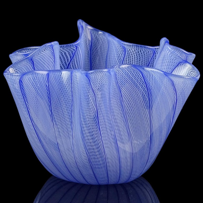 Hand-Crafted Venini Bianconi Murano Blue Italian Art Glass Fazzoletto Handkerchief Vase