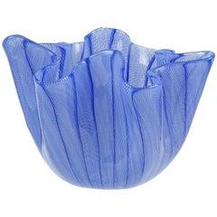 Venini Bianconi Murano Blue Italian Art Glass Fazzoletto Handkerchief Vase