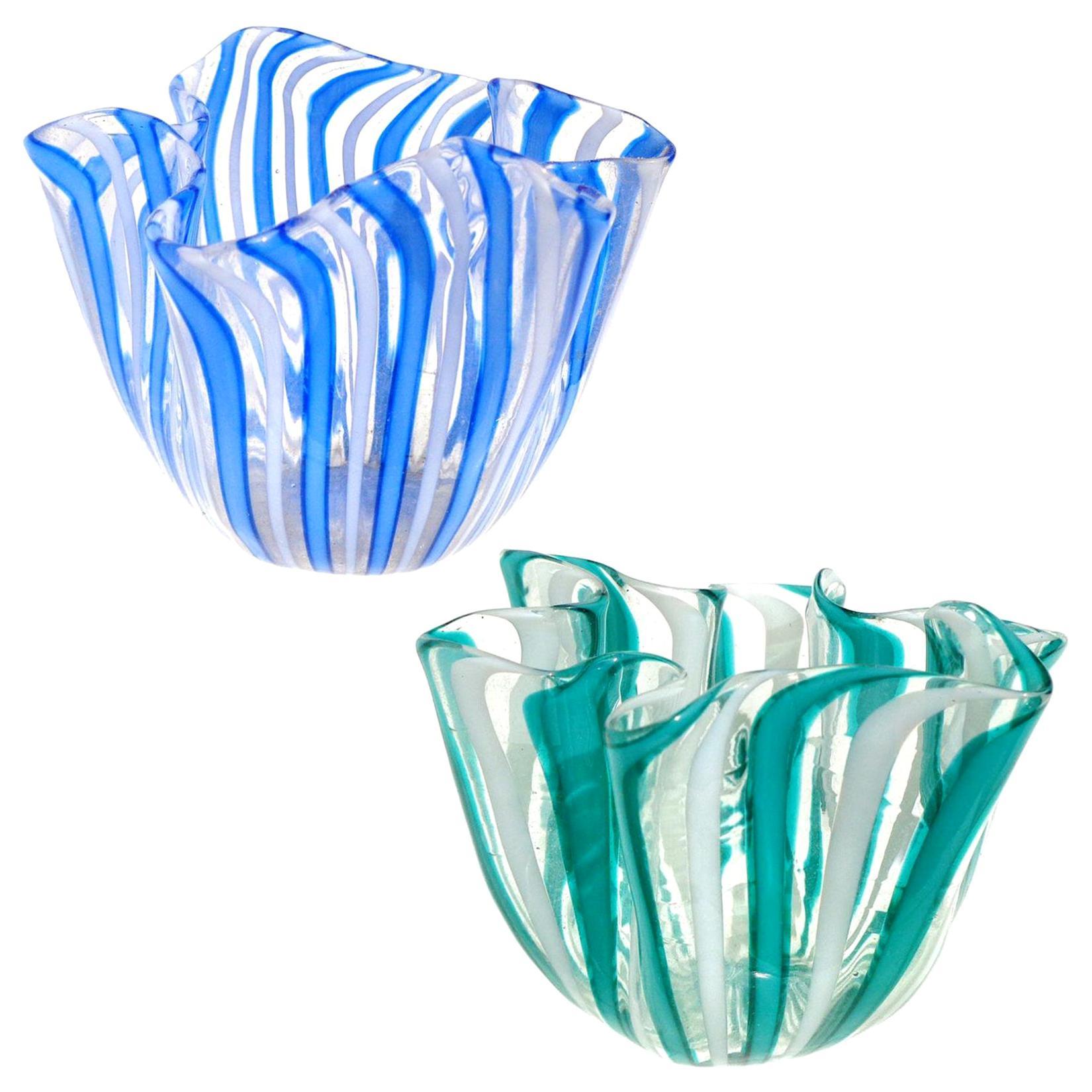 Venini Bianconi Murano Filigrana Stripes Italian Art Glass Fazzoletto Vases