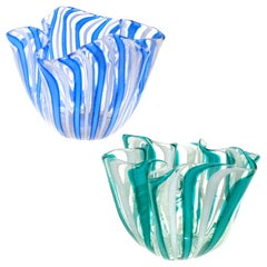 Venini Bianconi Murano Filigrana Stripes Italian Art Glass Fazzoletto Vases