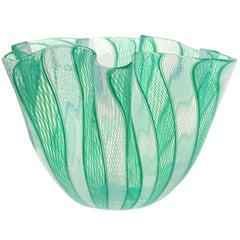 Venini Bianconi Murano Green White Italian Art Glass Fazzoletto Sculptural Vase