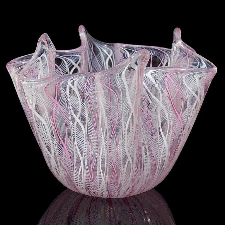 Hand-Crafted Venini Bianconi Murano Pink White Italian Art Glass Fazzoletto Handkerchief Vase