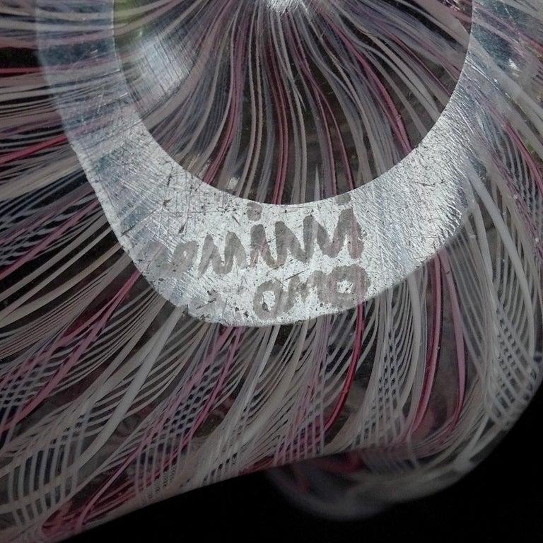 Venini Bianconi Murano Pink White Italian Art Glass Fazzoletto Handkerchief Vase 2