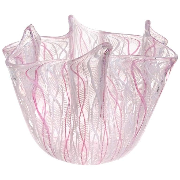 Venini Bianconi Murano Pink White Italian Art Glass Fazzoletto Handkerchief Vase