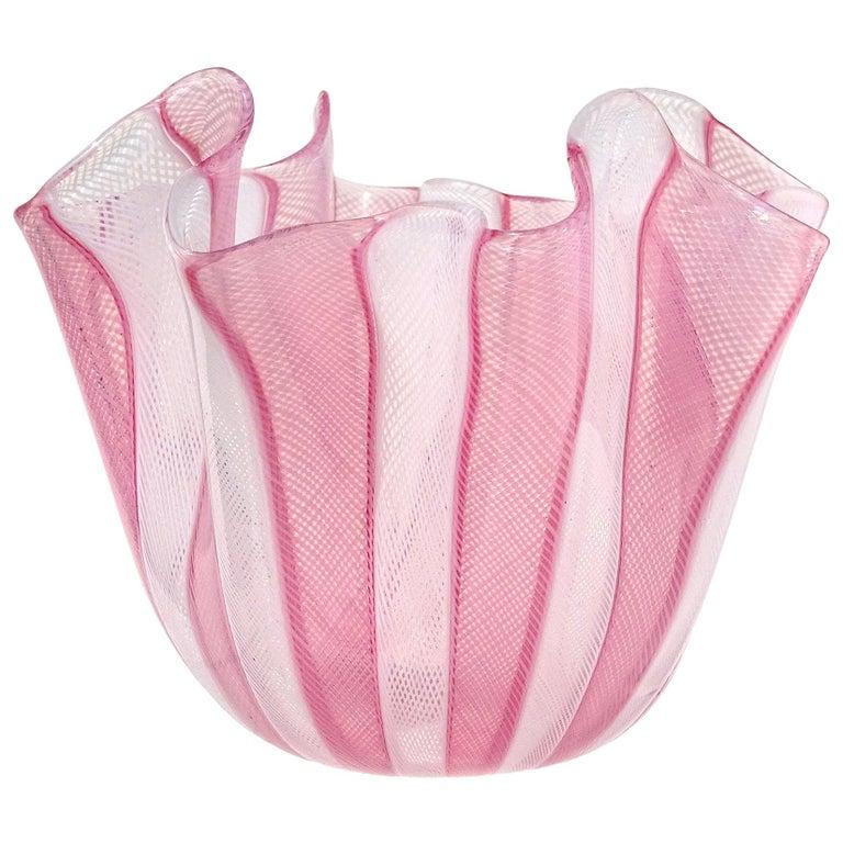Venini Bianconi Murano Pink White Italian Art Glass Fazzoletto Handkerchief Vase For Sale