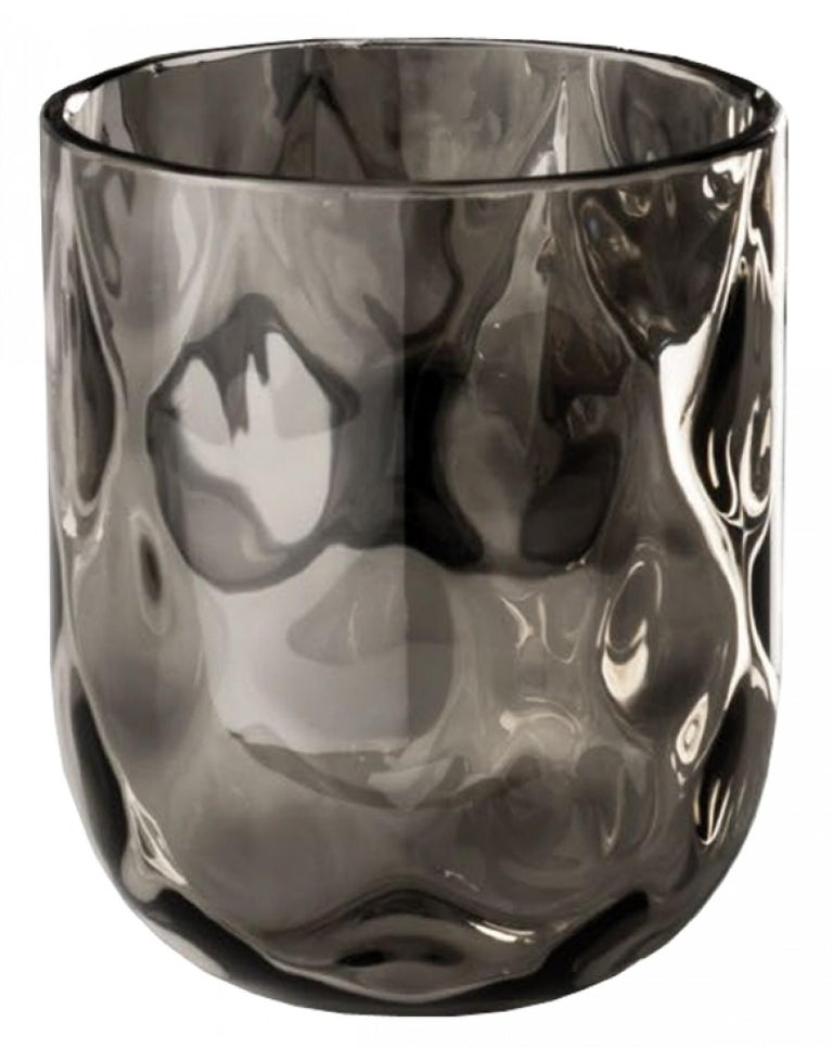 Italian Venini Bicchieri Carnevale Glass Set in Gray For Sale