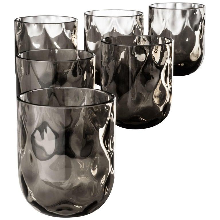 Venini Bicchieri Carnevale Glass Set in Gray For Sale