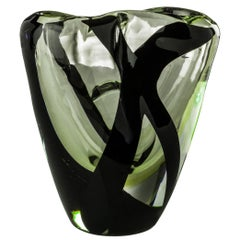 Venini Black Belt Otto Short Glass Vase in Crystal and Green by Peter Marino