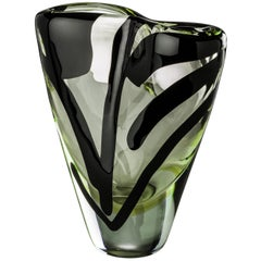 Venini Black Belt Otto Tall Glass Vase in Crystal and Green by Peter Marino
