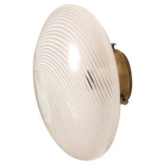 Venini Blown Glass Rounded Wall Light with Brass Base, 5 Available