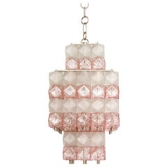 Venini Blush Pink, White Murano Glass Polyhedral Chandelier