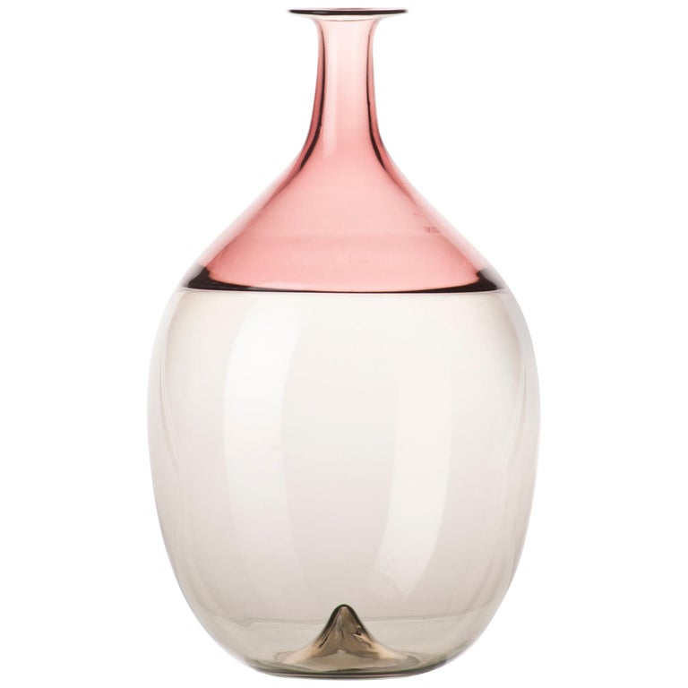 Venini Bolle Glass Vase in Pink and White by Tapio Wirkkala For Sale