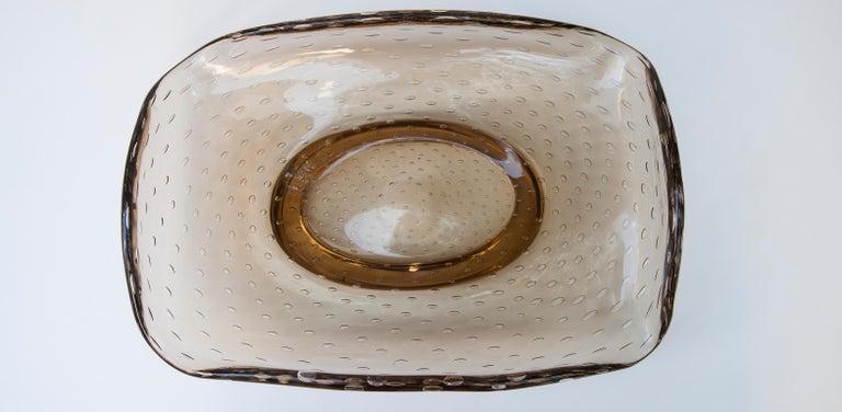 Venini Brown Murano Glass Huge Bowl Carlo Scarpa Attributed Marked Venini For Sale 1
