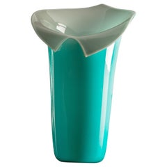 Venini Calla Limited Edition Glass Vase in Mint Green and Gray