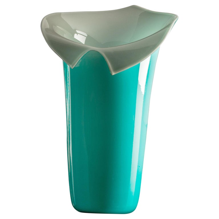 Venini Calla Limited Edition Glass Vase in Mint Green and Gray For Sale