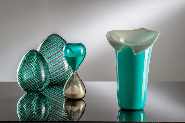 Italian Venini Calla Limited Edition Glass Vase in Mint Green and Gray For Sale