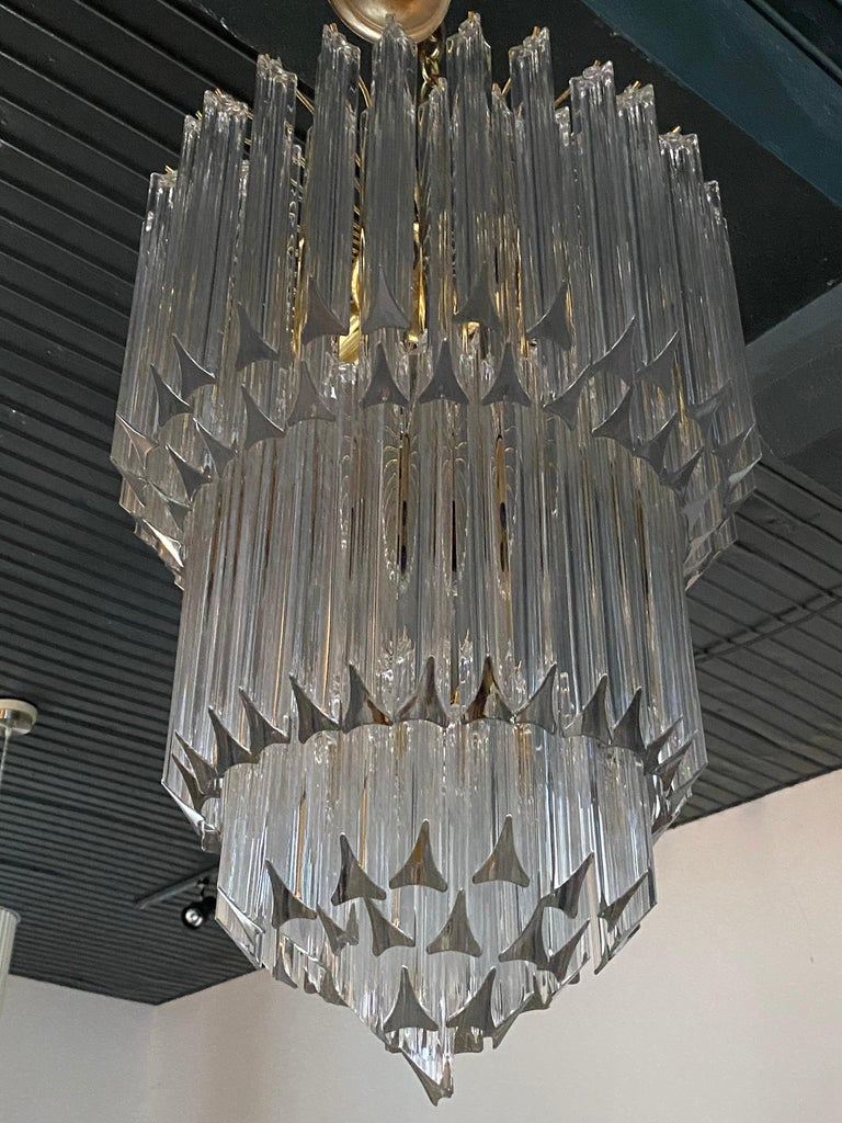 Mid-Century Modern Venini Camer Glass and Brass Tiered Waterfall Chandelier, Italy For Sale