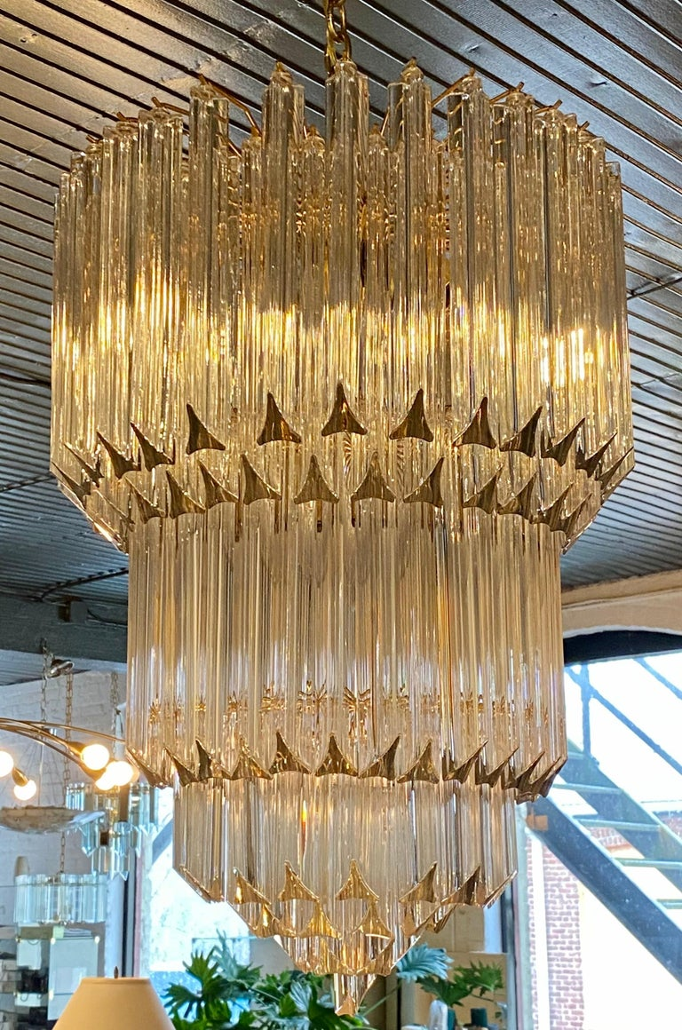 Italian Venini Camer Glass and Brass Tiered Waterfall Chandelier, Italy For Sale