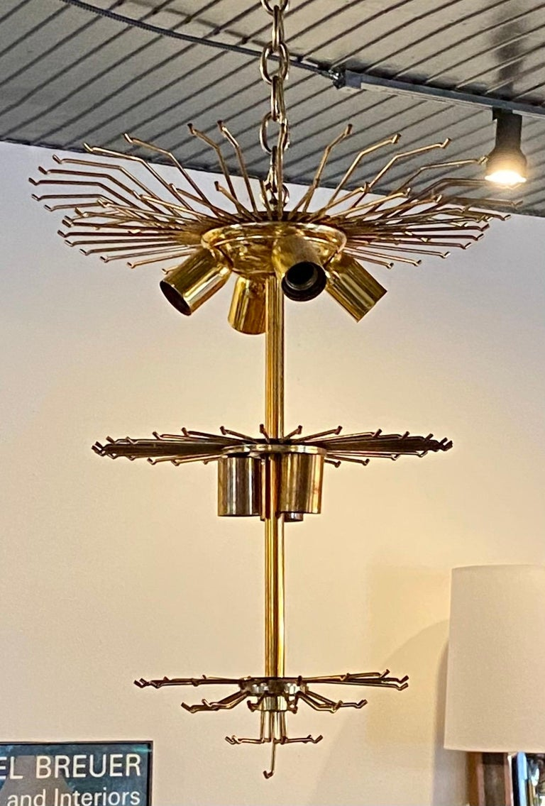 Late 20th Century Venini Camer Glass and Brass Tiered Waterfall Chandelier, Italy For Sale