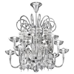 Venini Carlo Scarpa 12-Light Chandelier in Clear
