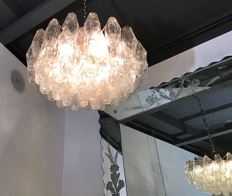 Mid-20th Century Venini Carlo Scarpa Chandelier Poliedri Murano Glass Brass, 1955 For Sale