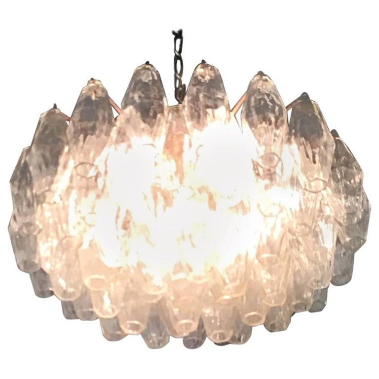 Venini Carlo Scarpa Chandelier Poliedri Murano Glass Brass, 1955 For Sale