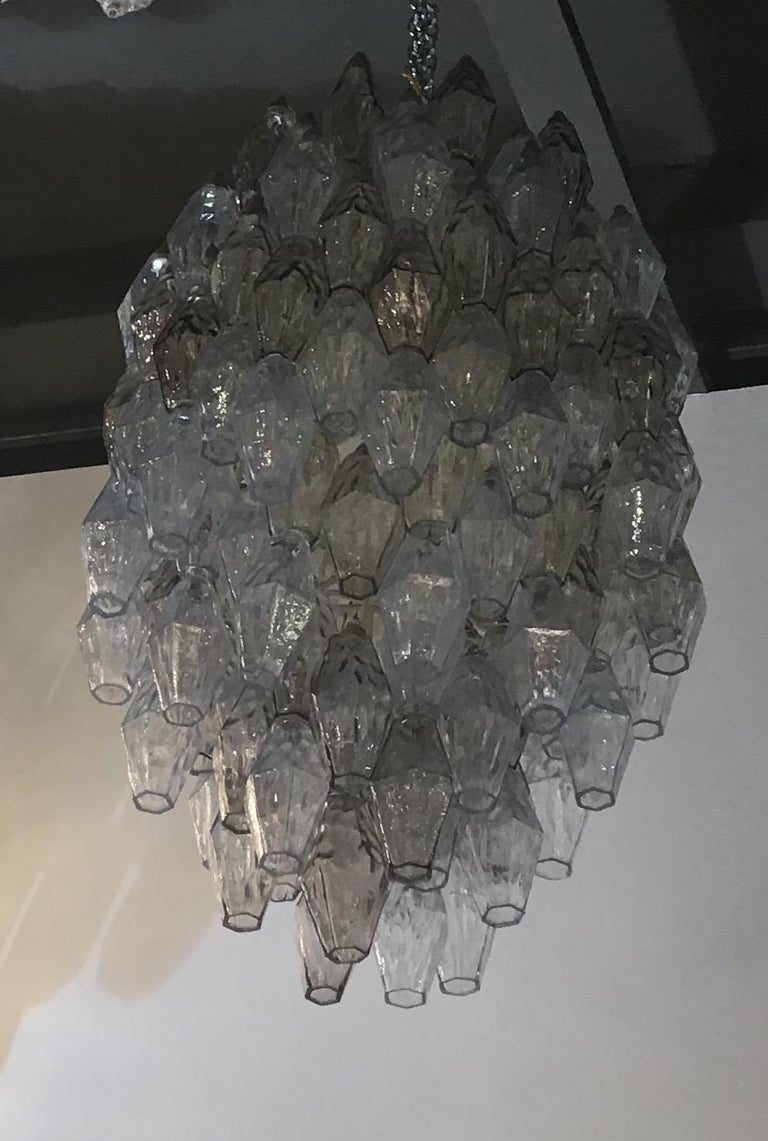 Venini Carlo Scarpa Chandelier Poliedri Murano Light Bluend Brass, 1950 For Sale 14