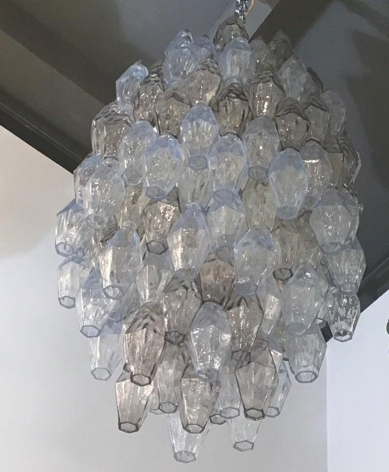 Murano Glass Venini Carlo Scarpa Chandelier Poliedri Murano Light Bluend Brass, 1950 For Sale