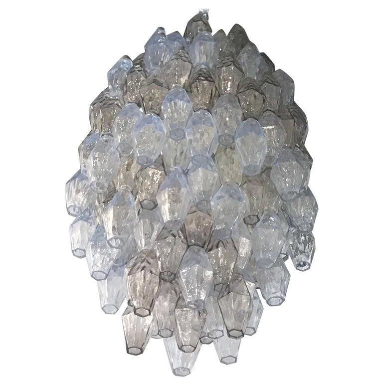 Venini Carlo Scarpa Chandelier Poliedri Murano Light Bluend Brass, 1950 For Sale