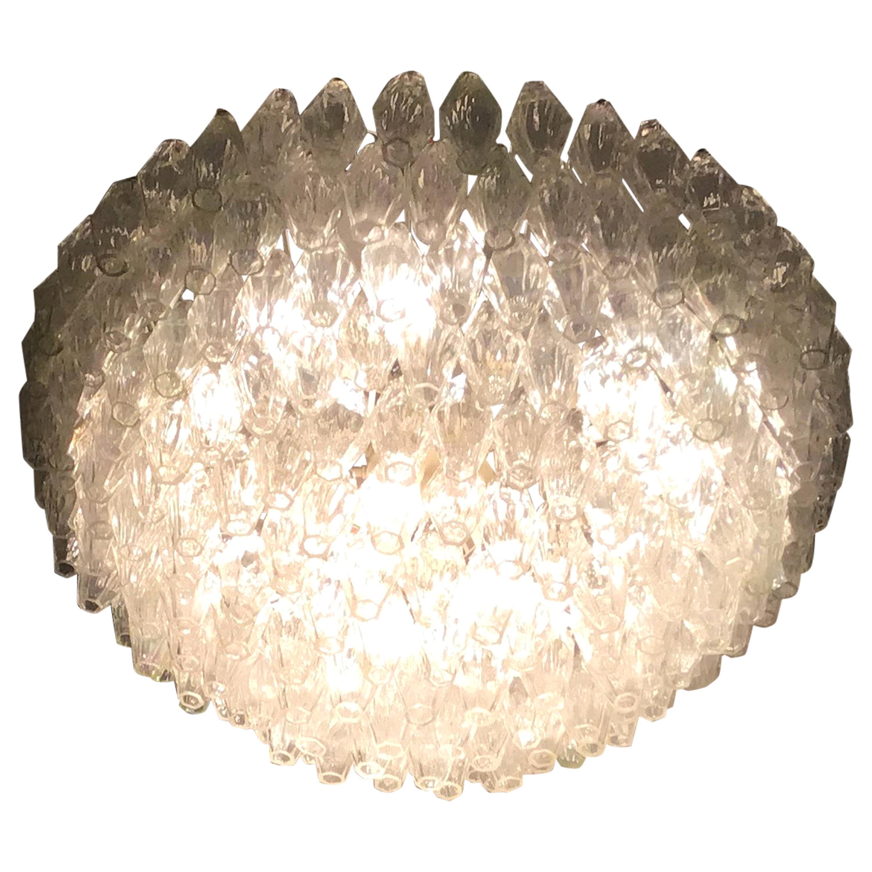 """Venini """"Carlo Scarpa"""" Poliedri Murano Glass Iron Brass, 1960, Italy"""