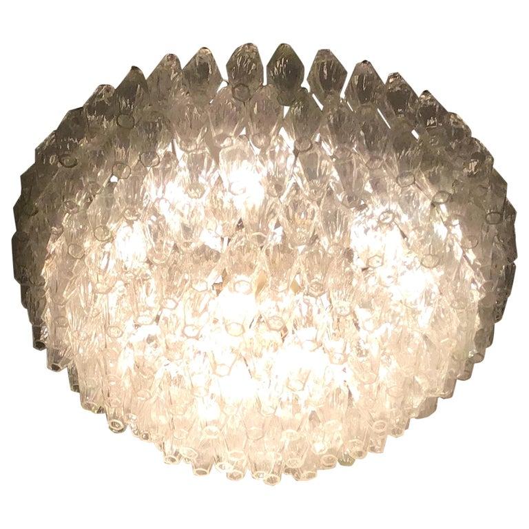 """Venini """"Carlo Scarpa"""" Poliedri Murano Glass Iron Brass, 1960, Italy For Sale"""