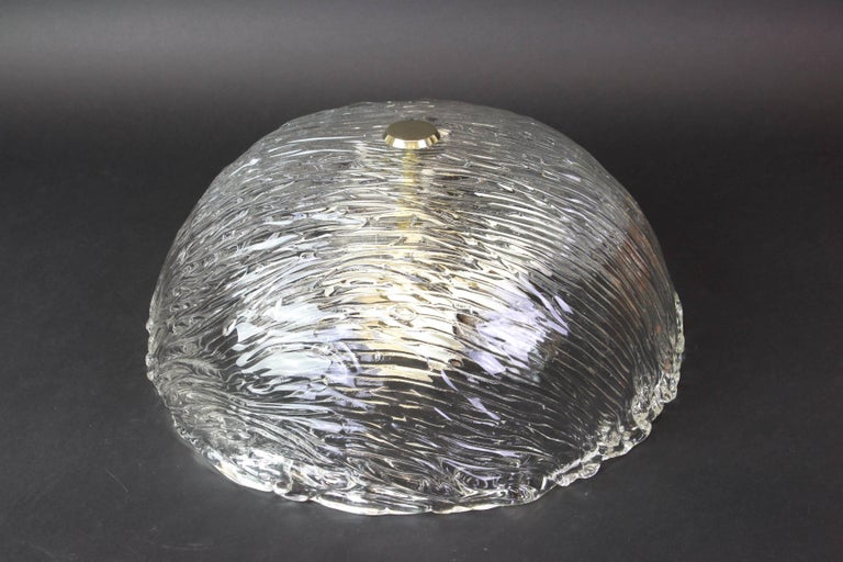 Venini ceiling lights attributed to Carlo Scarpa for Venini, 1950s. Wonderful light effect. The heavily textured and slightly iridescent glass dome is held in place by brass knob  High quality and in very good condition. Cleaned, well-wired and