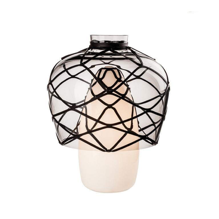 Venini Celesti Table Lamp in Milk White with Black Detail by Atelier Oï For Sale