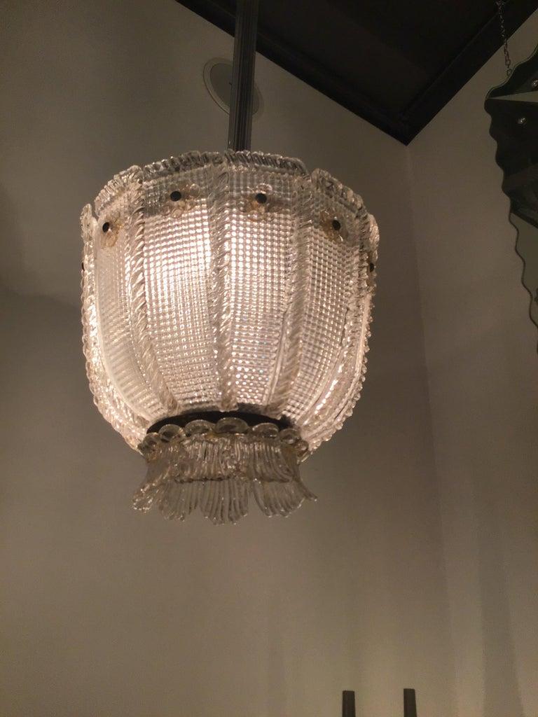 Venini Chandelier 1940 Murano Glass Iron Brass, Italy For Sale 4