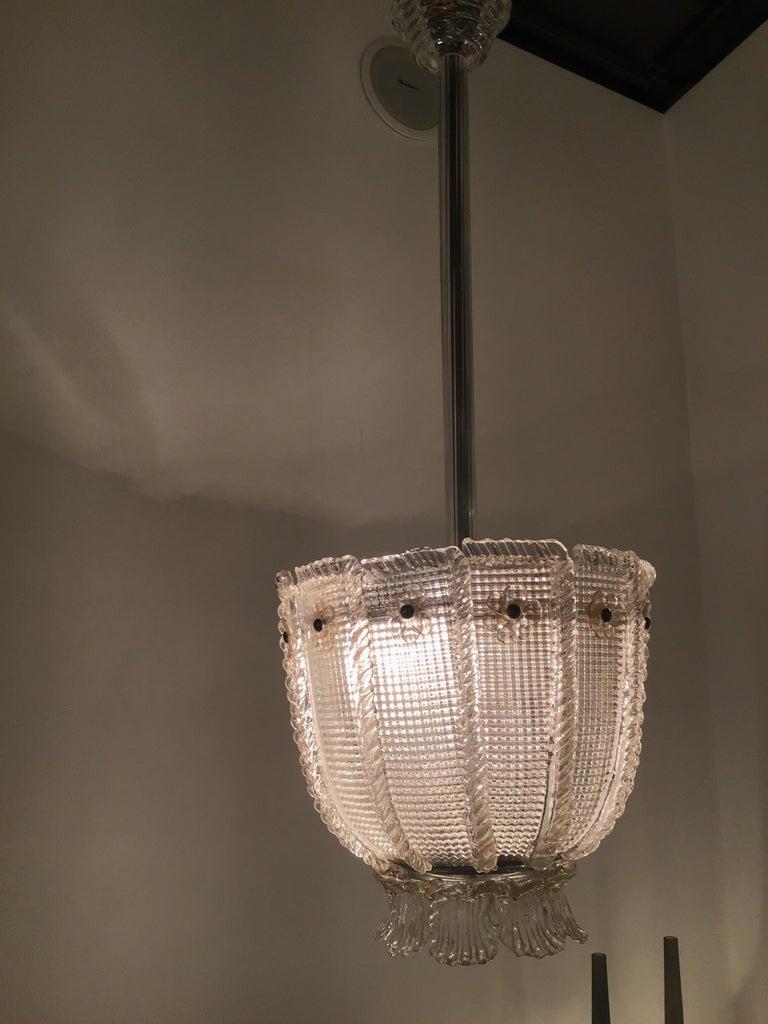 Venini Chandelier 1940 Murano Glass Iron Brass, Italy For Sale 5