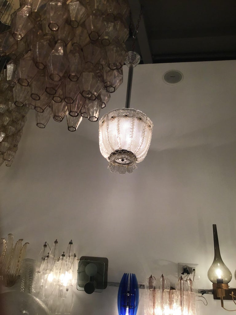 Venini chandelier 1940 Murano glass iron brass, Italy.
