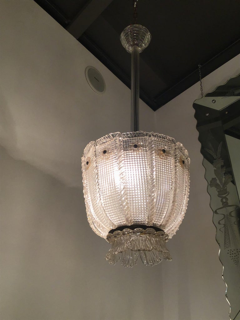 Other Venini Chandelier 1940 Murano Glass Iron Brass, Italy For Sale