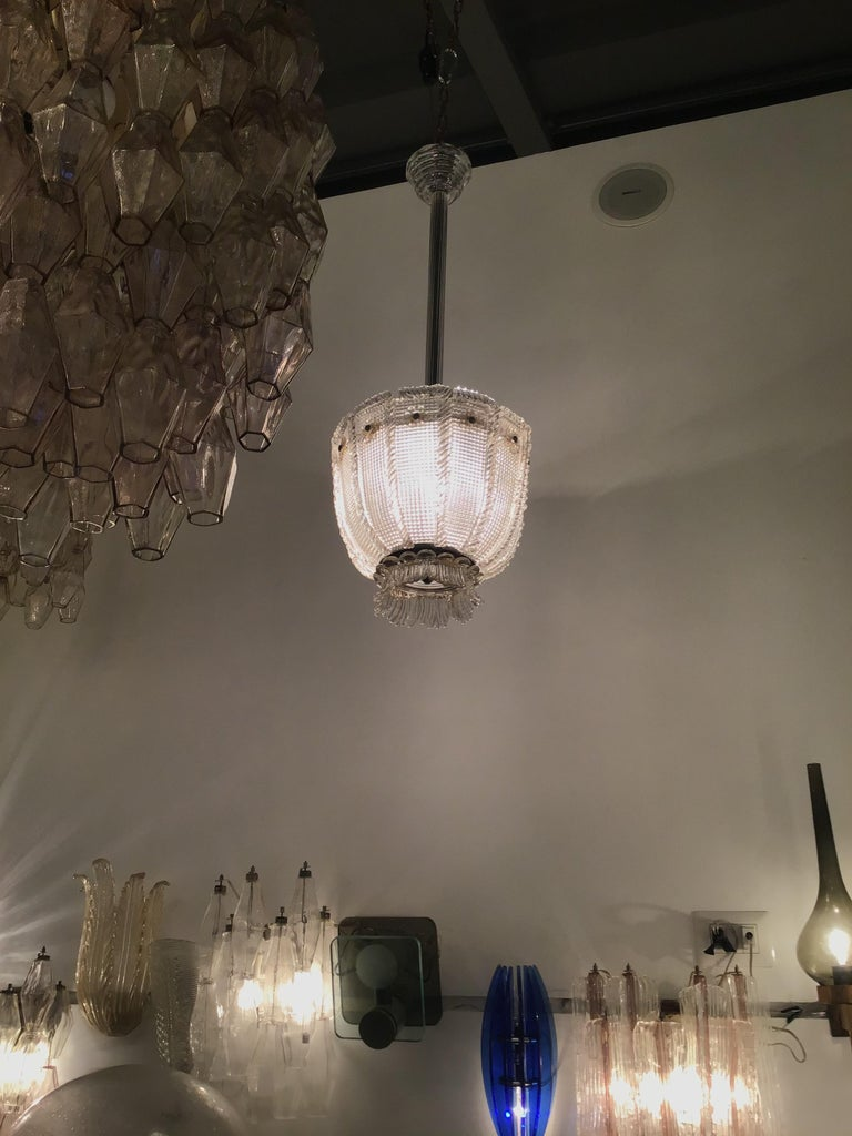 Venini Chandelier 1940 Murano Glass Iron Brass, Italy In Excellent Condition For Sale In Milano, IT